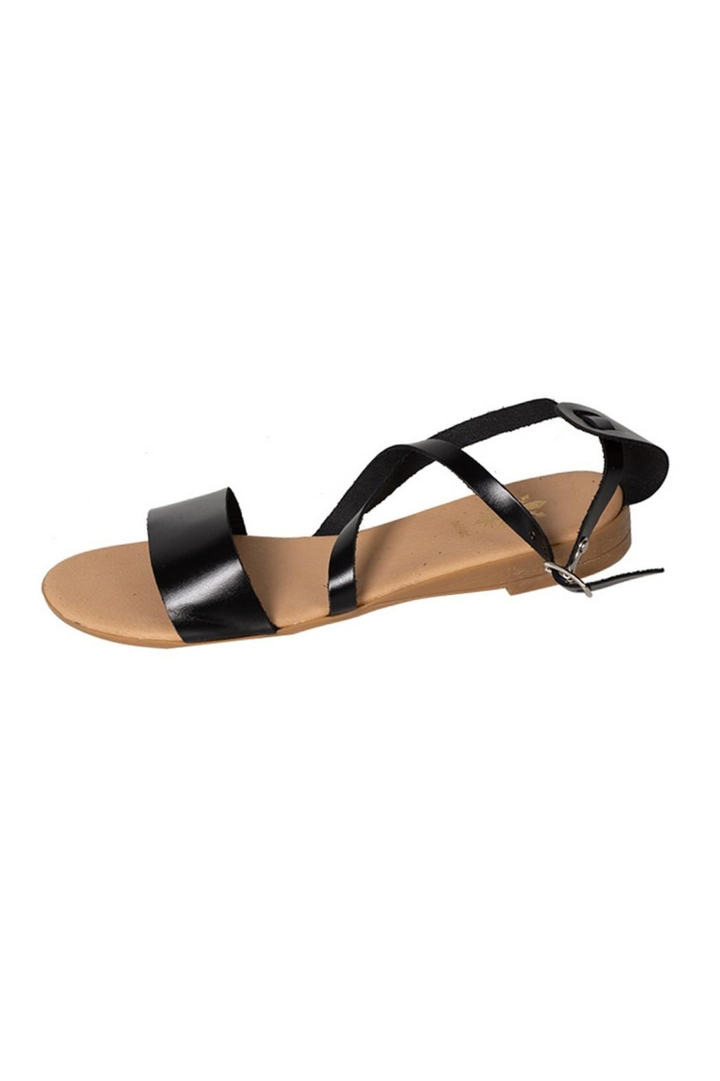 Firenze Black Leather Sandal - Front Cropped Image