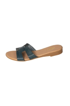 Firenze Light-Blue Leather H-Slides - Product List Image