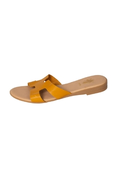 Firenze Mustard Leather H-Slide - Product List Image