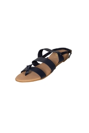 Firenze Navy Leather Sandal - Front full body