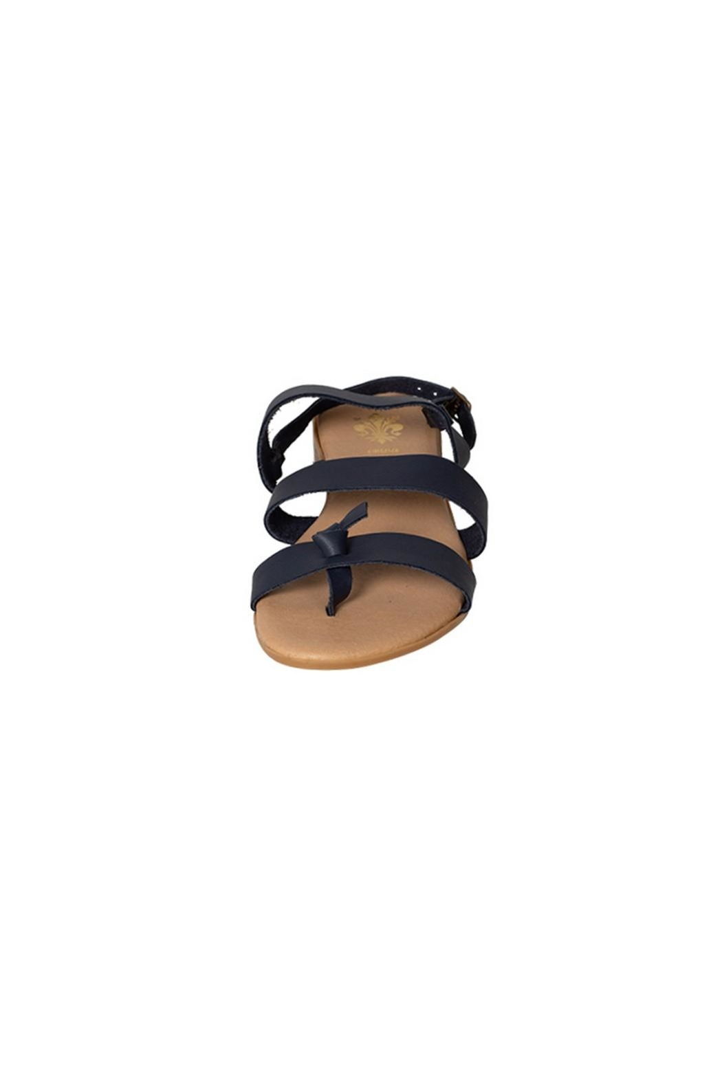 Firenze Navy Leather Sandal - Side Cropped Image