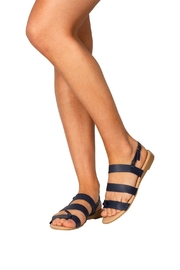 Firenze Navy Leather Sandal - Back cropped