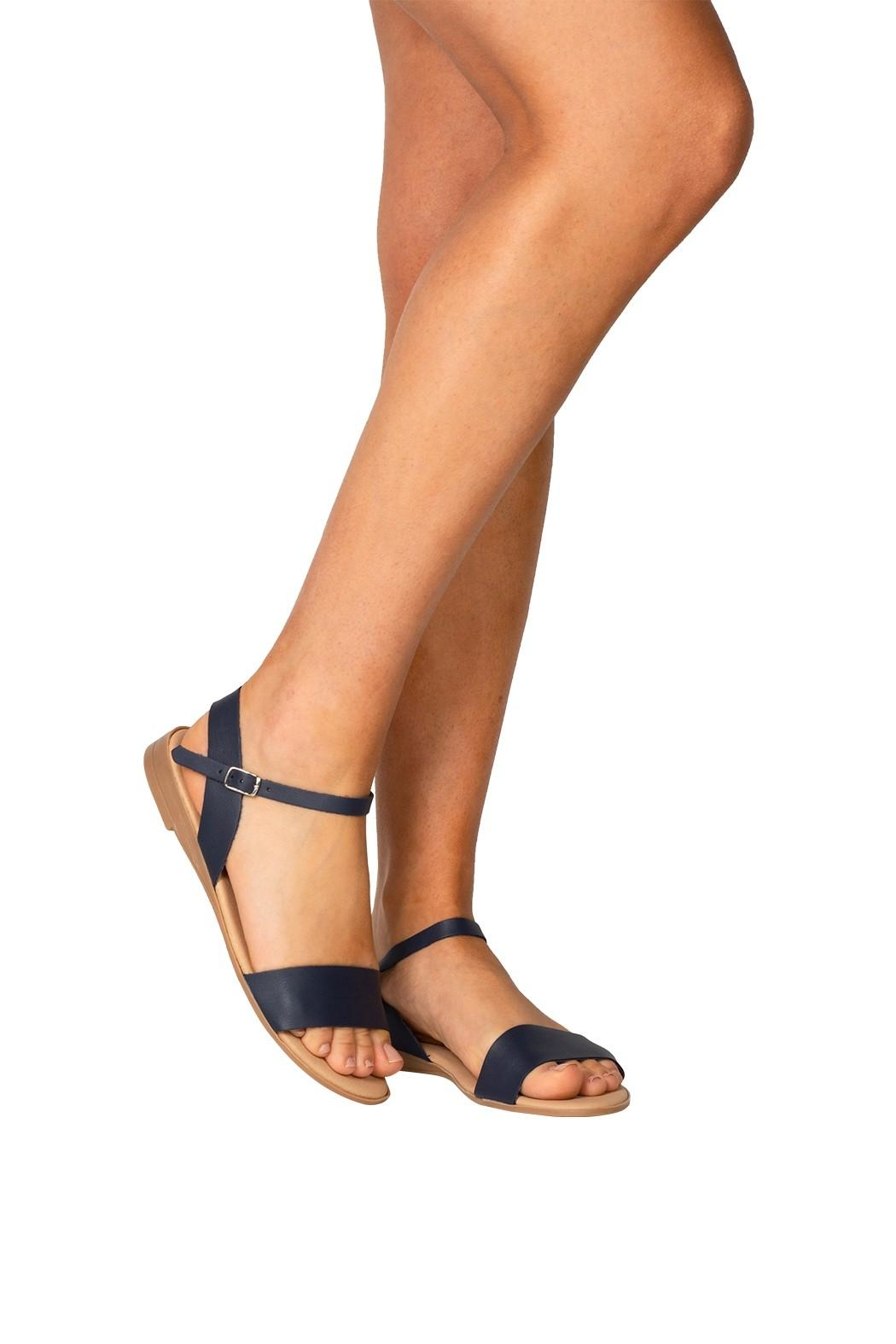 Firenze Navy Leather Sandal - Back Cropped Image
