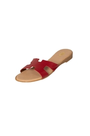 Firenze Red Leather H-Slides - Front full body