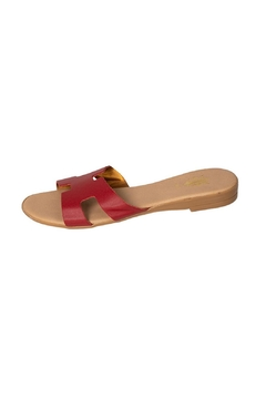 Firenze Red Leather H-Slides - Product List Image