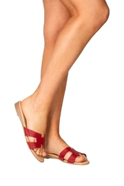 Firenze Red Leather H-Slides - Back cropped