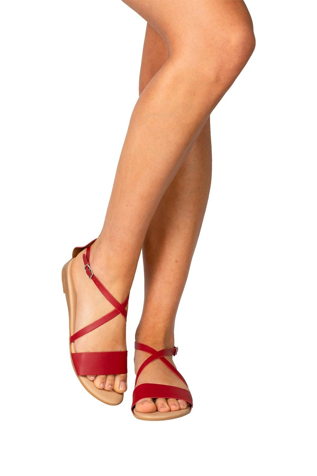 Firenze Red Leather Sandal - Back Cropped Image
