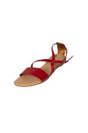 Firenze Red Leather Sandal - Front full body