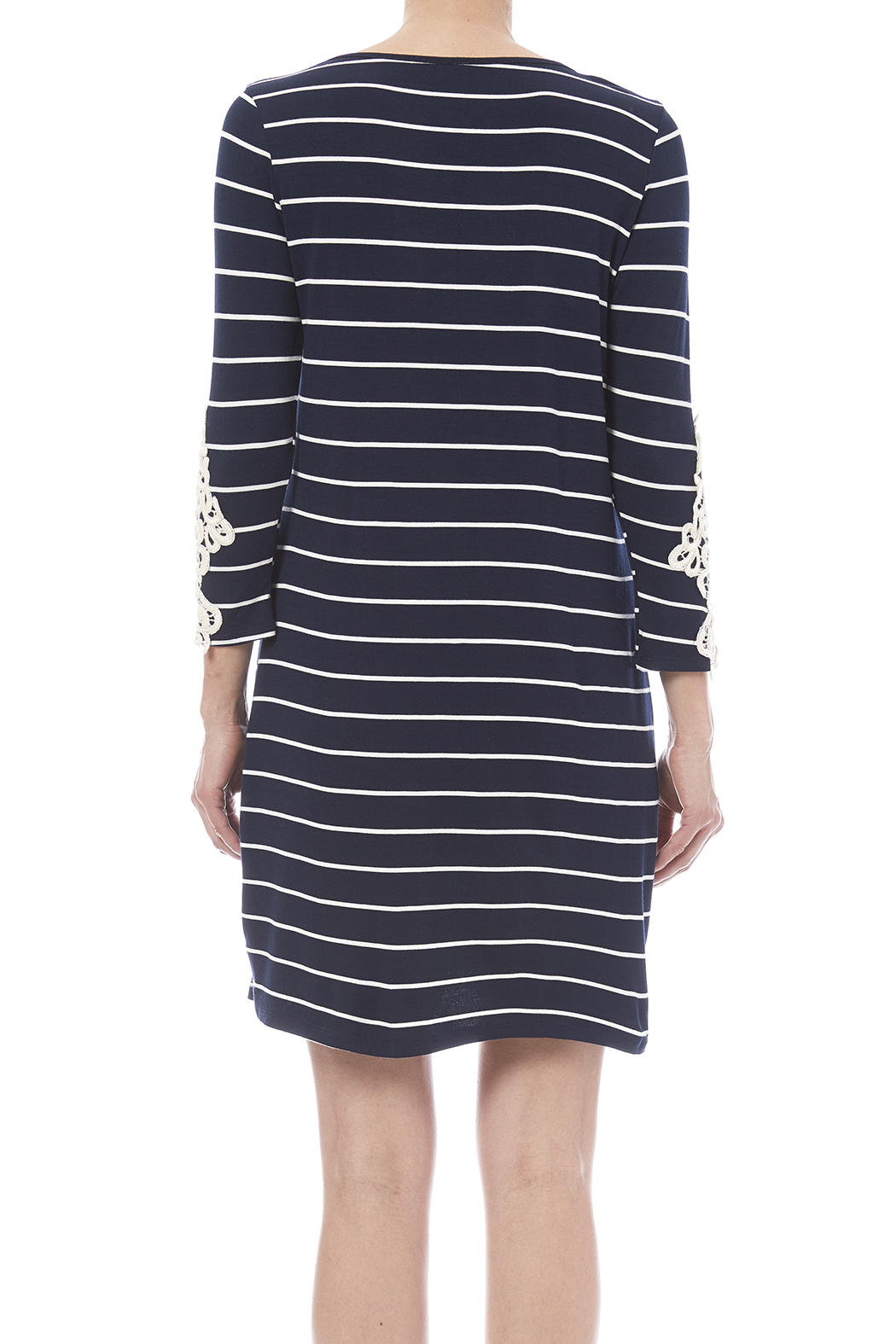 First Look Navy Striped Dress - Back Cropped Image