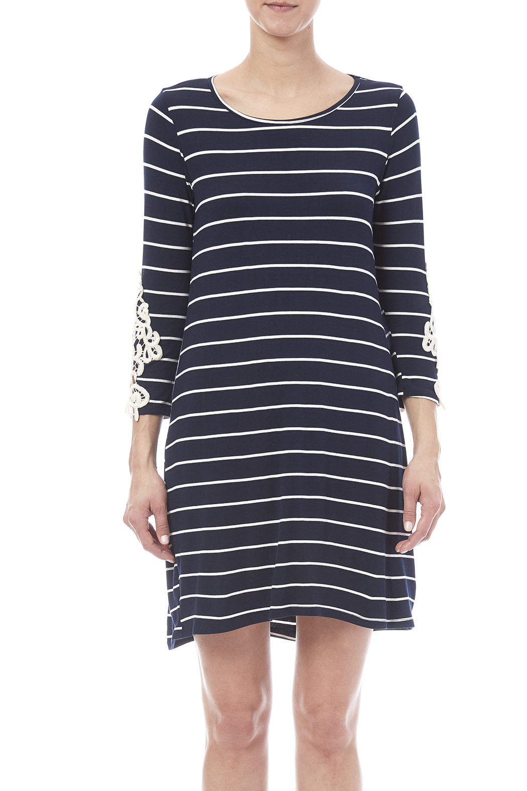 First Look Navy Striped Dress - Side Cropped Image