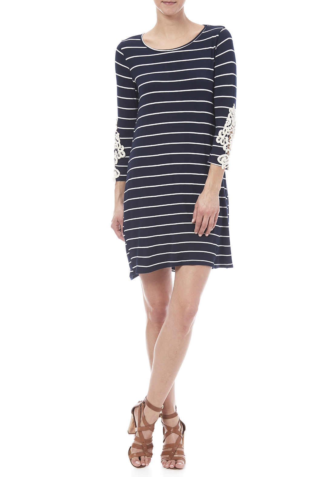 First Look Navy Striped Dress - Front Full Image