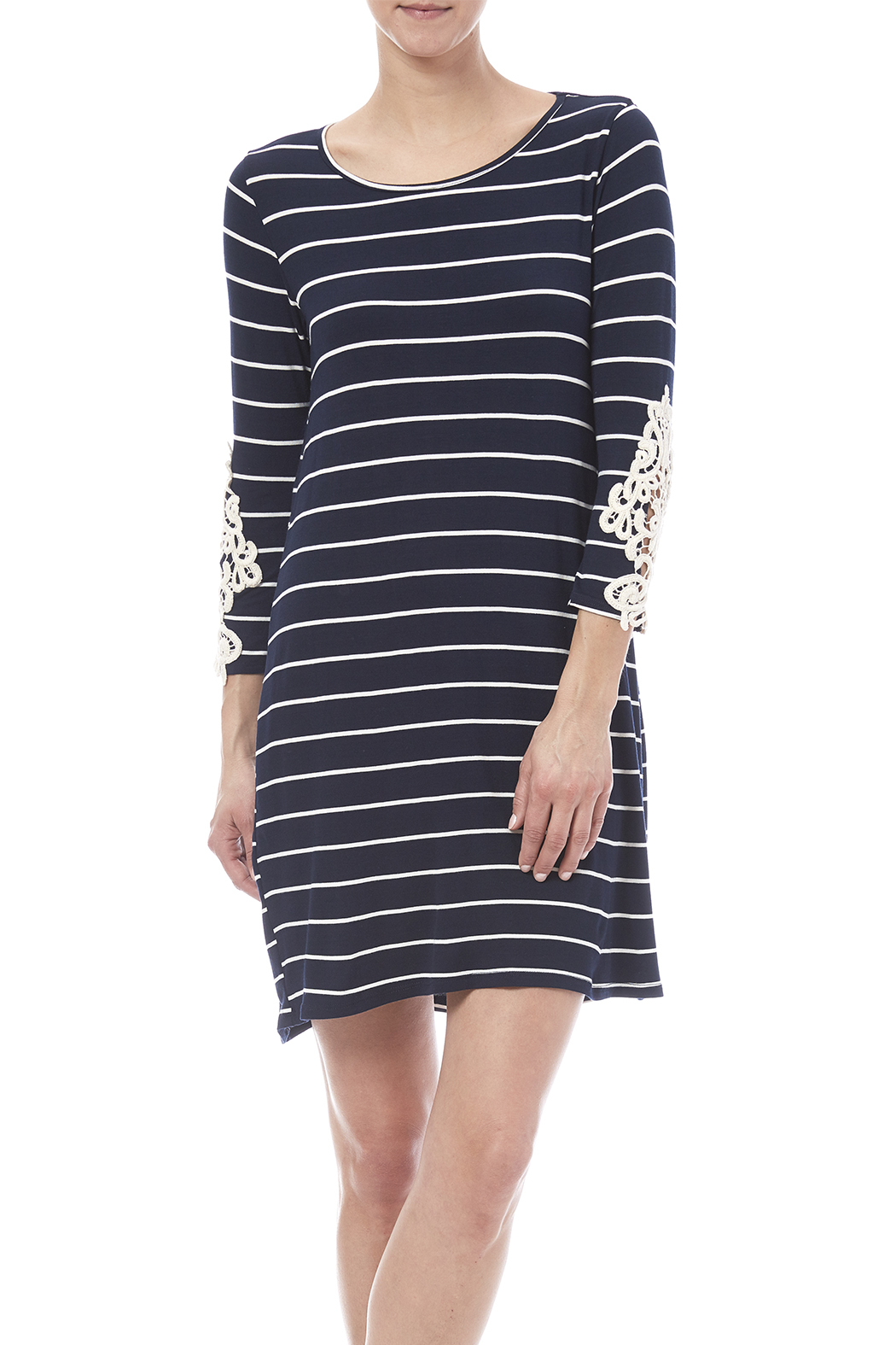First Look Navy Striped Dress - Main Image