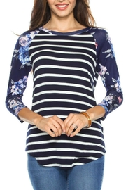 First Look Striped Floral Top - Product Mini Image