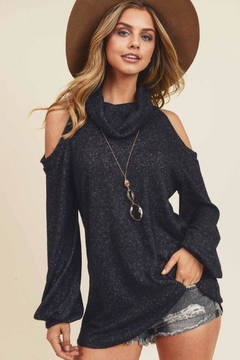 First Love Cashmere-Brushed Turtlneck Top - Product List Image