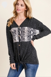 First Love Faux-Fur Contrast Top - Front full body