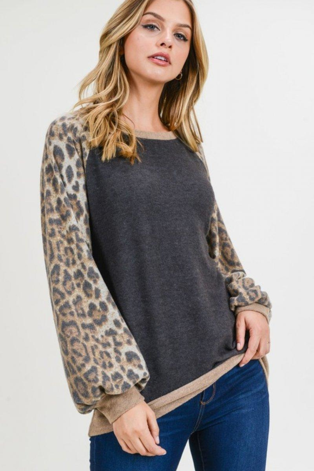 First Love Leopard Cashmere-Brushed Top - Front Full Image