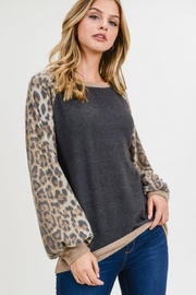 First Love Leopard Cashmere-Brushed Top - Front full body