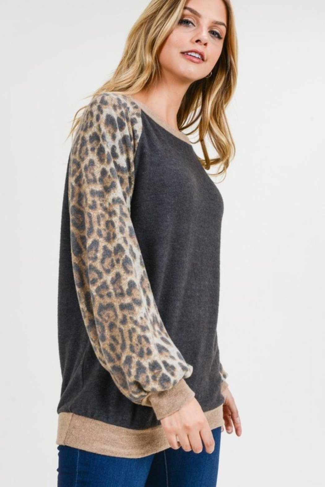 First Love Leopard Cashmere-Brushed Top - Side Cropped Image