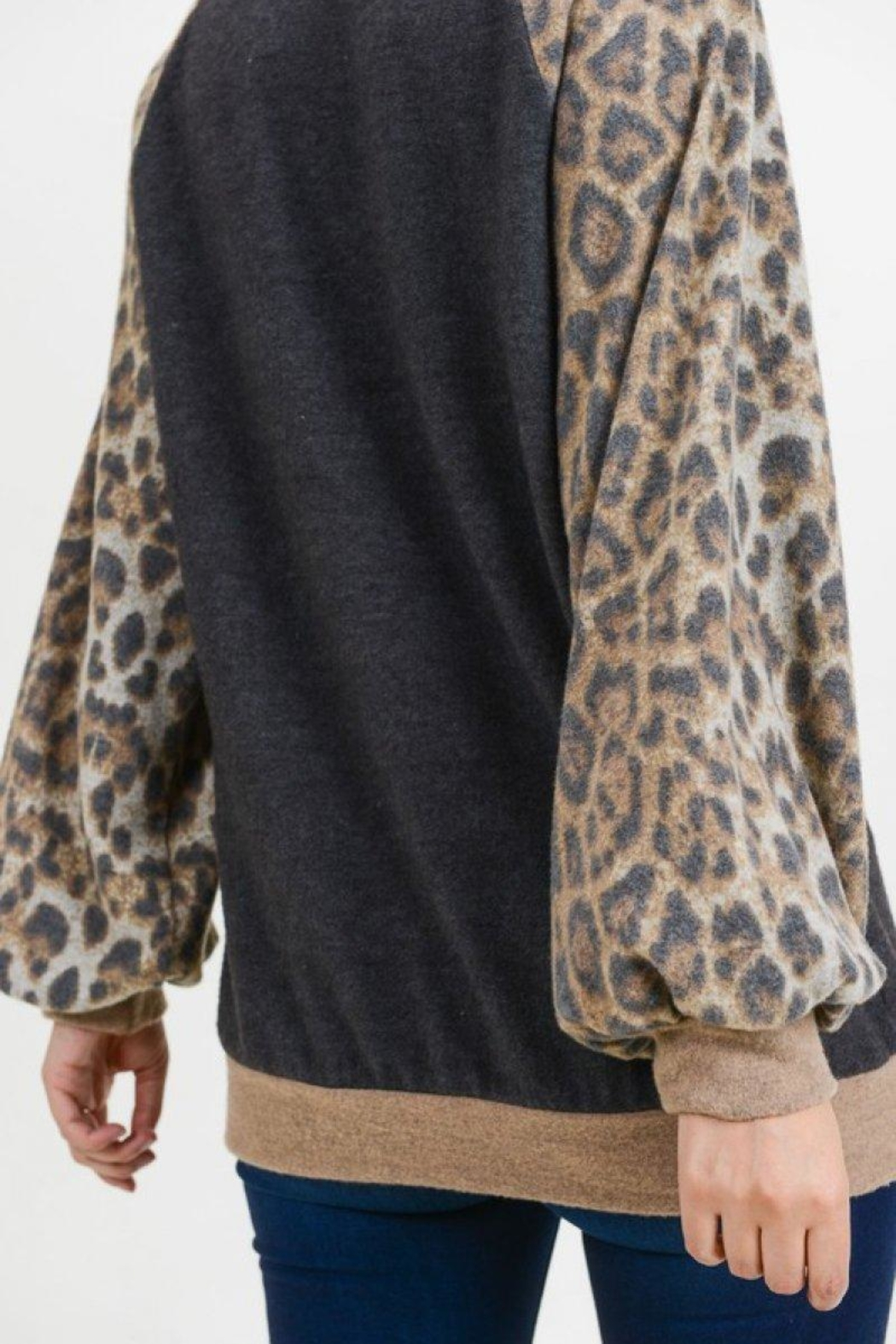 First Love Leopard Cashmere-Brushed Top - Back Cropped Image