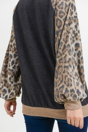 First Love Leopard Cashmere-Brushed Top - Back cropped