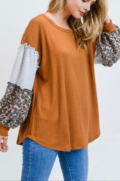 First Love Leopard Contrast Top - Alternate List Image