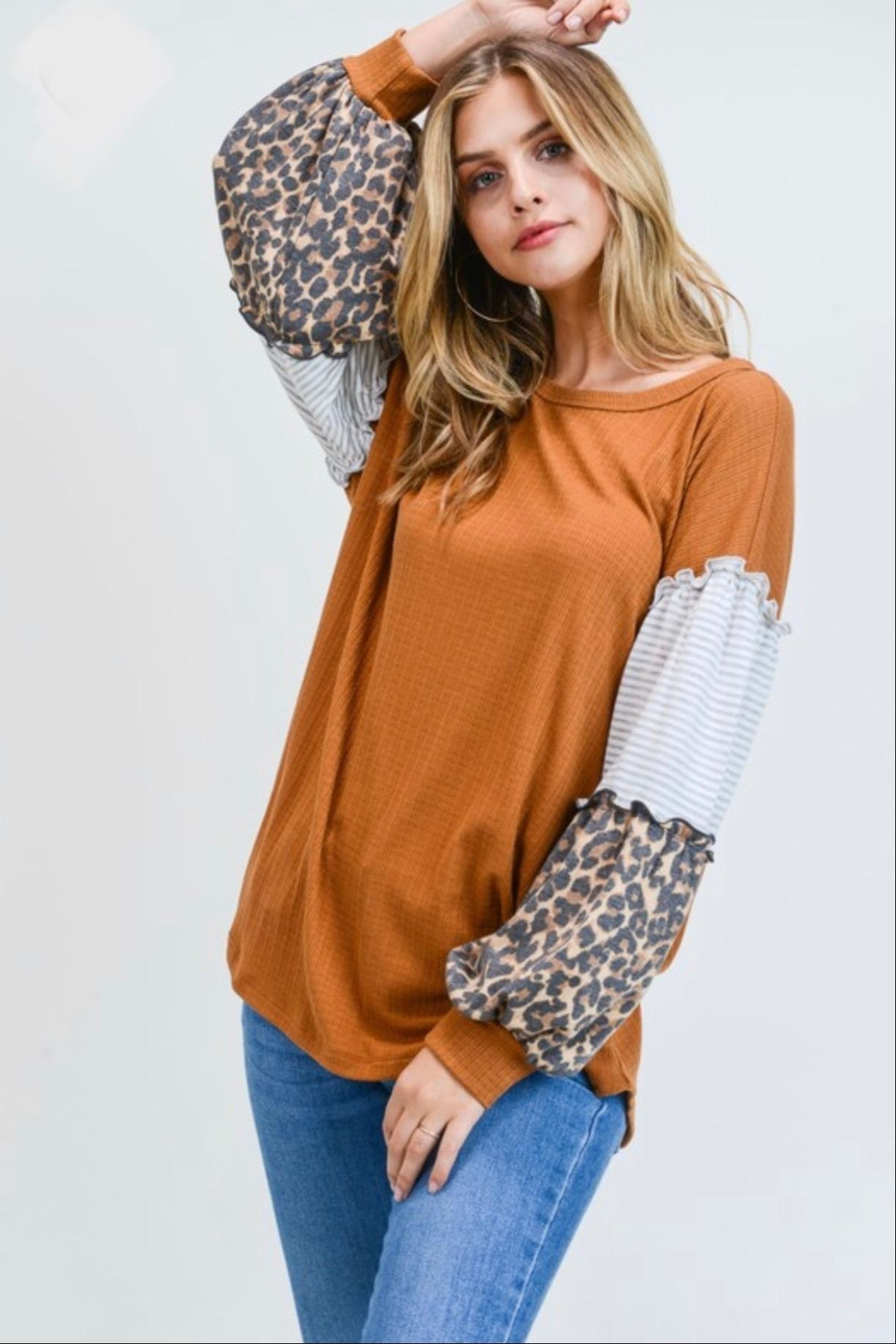 First Love Leopard Contrast Top - Main Image