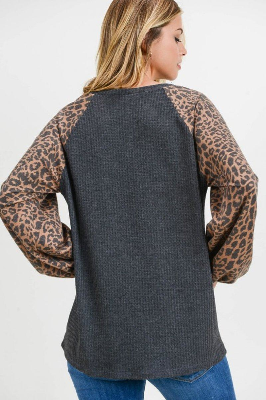 First Love Leopard Contrast Top - Back Cropped Image