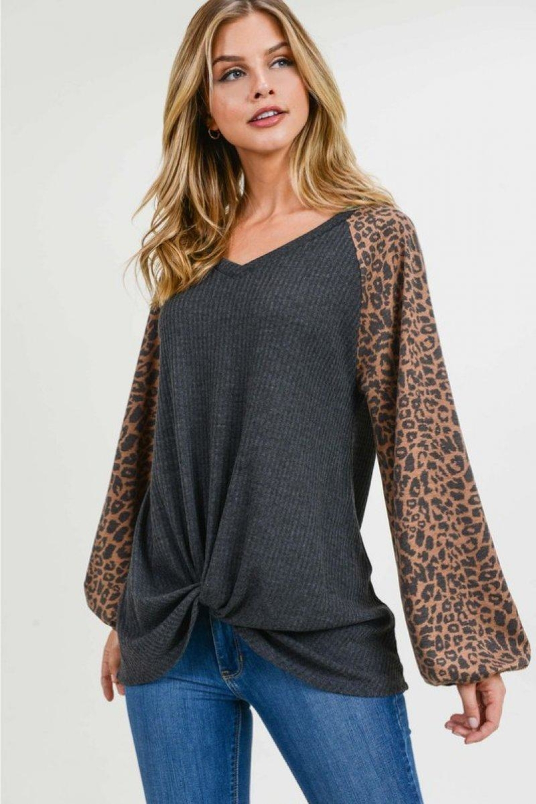 First Love Leopard Contrast Top - Front Full Image