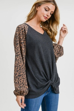 First Love Leopard Contrast Top - Product List Image