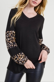 First Love Leopard Contrast Top - Product Mini Image