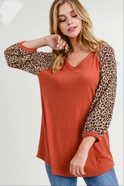First Love Leopard Sleeve Top - Front full body