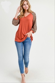 First Love Leopard Sleeve Top - Other