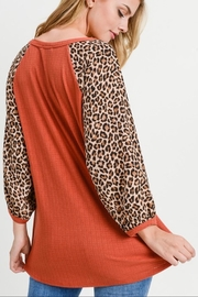First Love Leopard Sleeve Top - Back cropped
