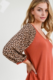 First Love Leopard Sleeve Top - Side cropped