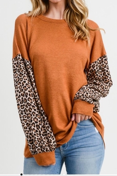 First Love Puff-Sleeve Leopard Top - Product List Image