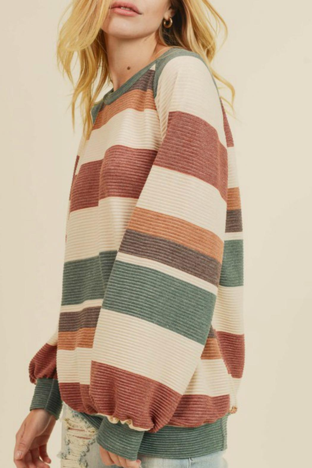 First Love Raegan Striped Sweater - Side Cropped Image