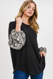 First Love Snake Contrast Top - Front full body