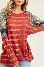 First Love Striped Leopard Top - Product Mini Image