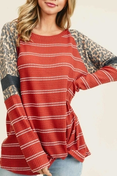 First Love Striped Leopard Top - Product List Image