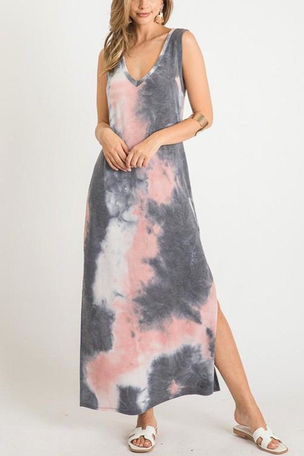 First Love Tie-Dye V-Neck Maxi - Side Cropped Image