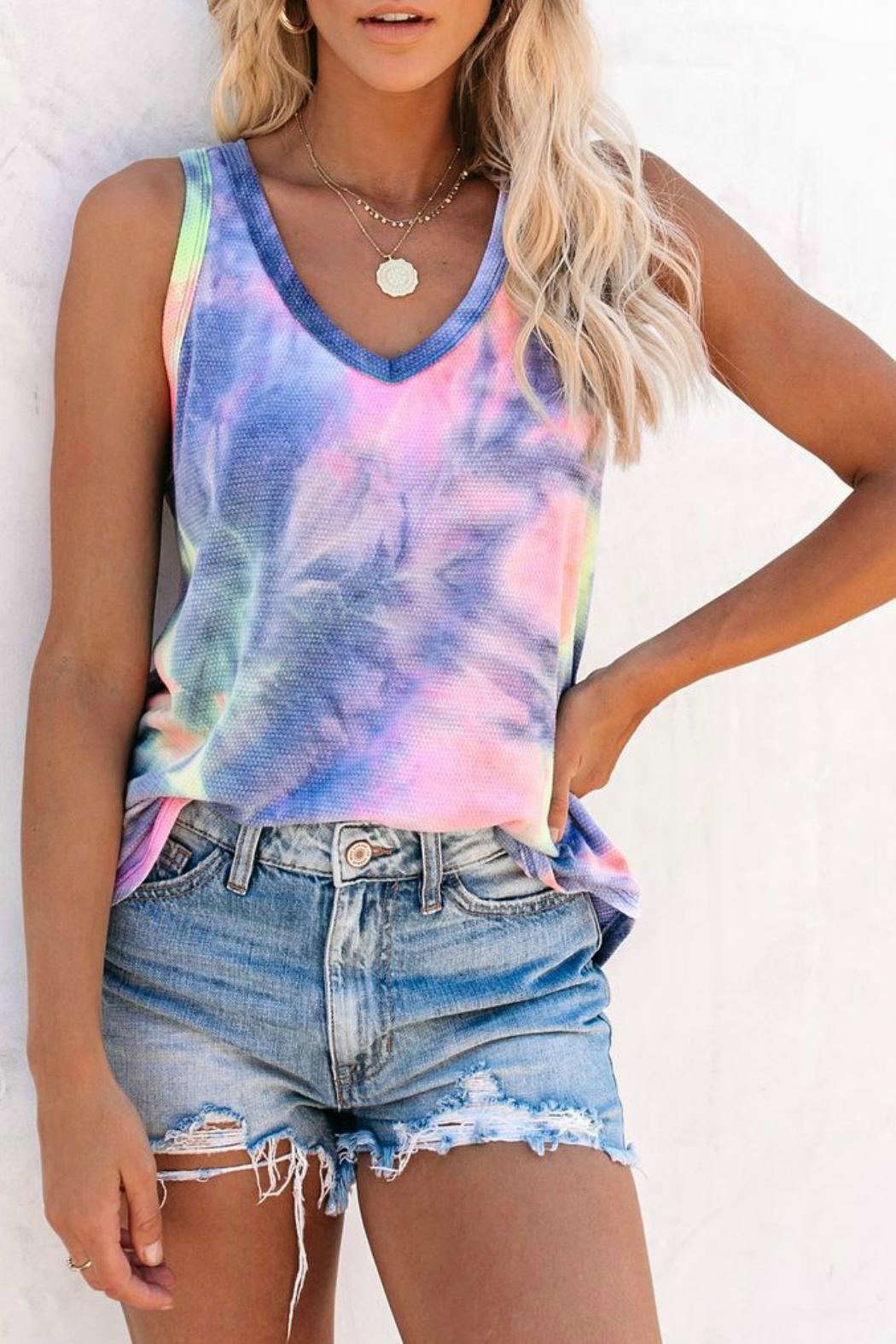 First Love Viola Tie Dye Tank - Side Cropped Image
