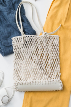 Trend:notes Fish Net Boho Bag w/ Leather Detail - Alternate List Image