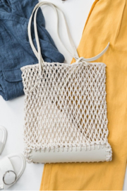 Trend:notes Fish Net Boho Bag w/ Leather Detail - Product Mini Image