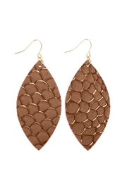 Riah Fashion Fish-Scale Marquiseleather Drop-Earrings - Product Mini Image
