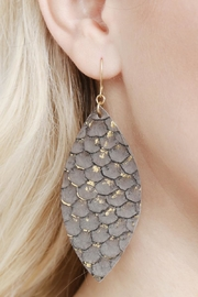 Riah Fashion Fish-Scale Marquiseleather Drop-Earrings - Back cropped