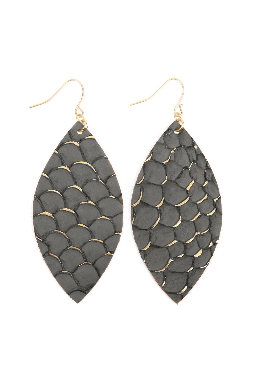 Riah Fashion Fish-Scale Marquiseleather Drop-Earrings - Front Cropped Image