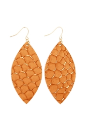 Riah Fashion Fish-Scale Marquiseleather Drop-Earrings - Front cropped