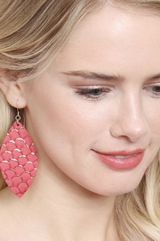 Riah Fashion Fish-Scale Marquiseleather Drop-Earrings - Side cropped