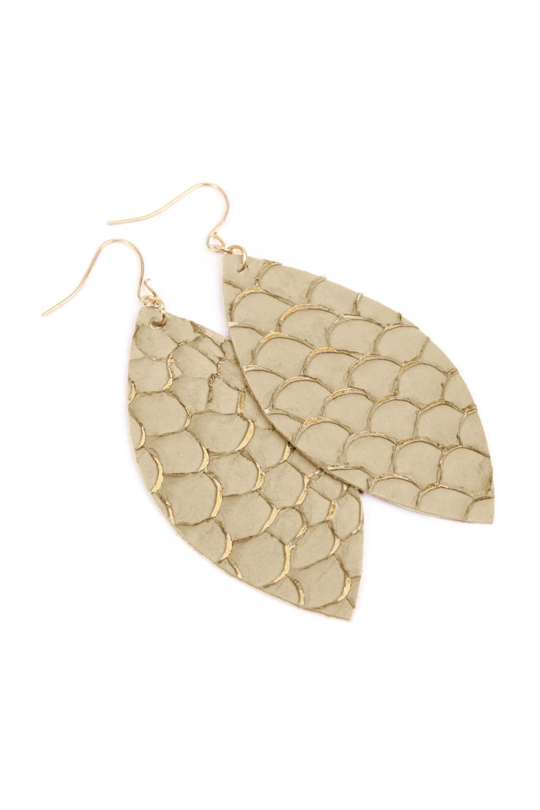 Riah Fashion Fish-Scale Marquiseleather Drop-Earrings - Front Full Image