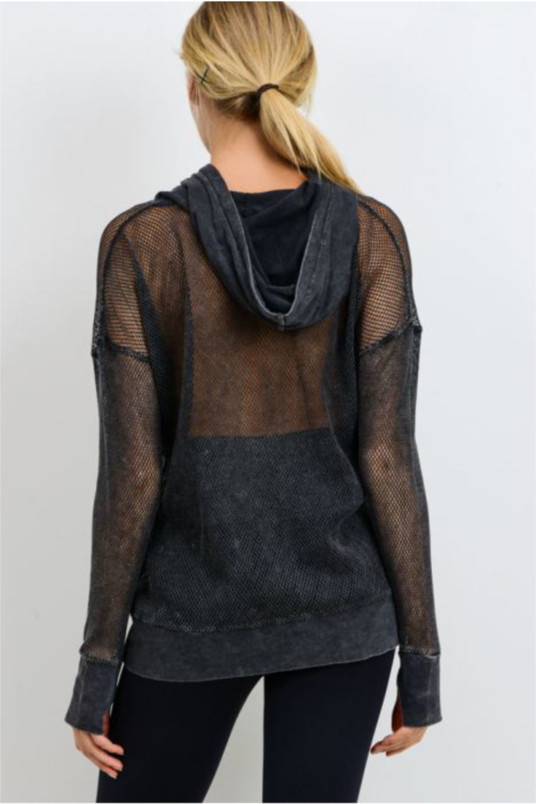 Mono B Fishnet Detail Athleisure Hoodie - Front Full Image